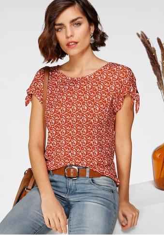 Tamaris Print-Shirt, mit Knoten-Detail an den Ärmeln - NEUE KOLLEKTION kaufen