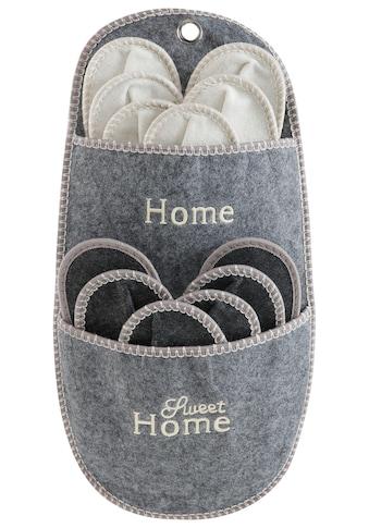 Home affaire Hängeaufbewahrung »Home Sweet Home«, (Set, 7 St.), Gästepantoffel-Set kaufen