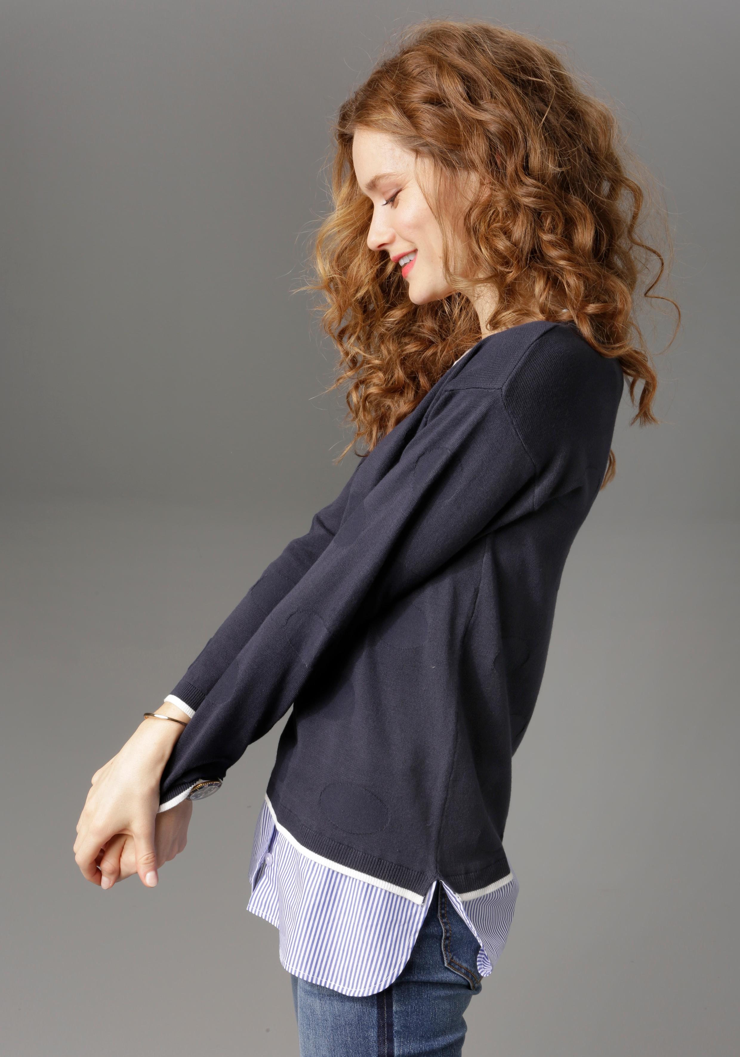 Image of Aniston CASUAL 2-in-1-Pullover, mit gestreiften Blusenansatz