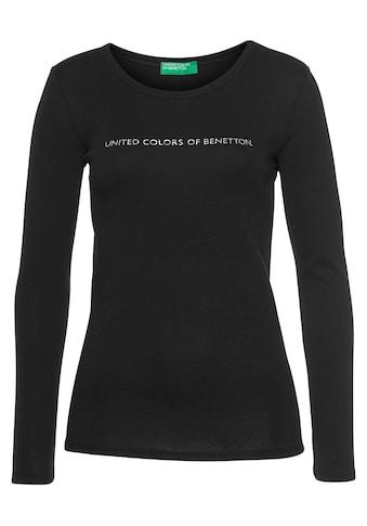 United Colors of Benetton Langarmshirt, mit silberfarben- oder goldfarbenem Glitzer-Labelprint kaufen
