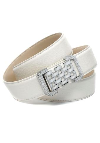 Anthoni Crown Ledergürtel, in Hirschprägung, weiss, grafische Schliesse kaufen