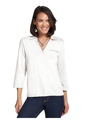 Casual Looks Shirt mit Polokragen und offenem V - Ausschnitt kaufen