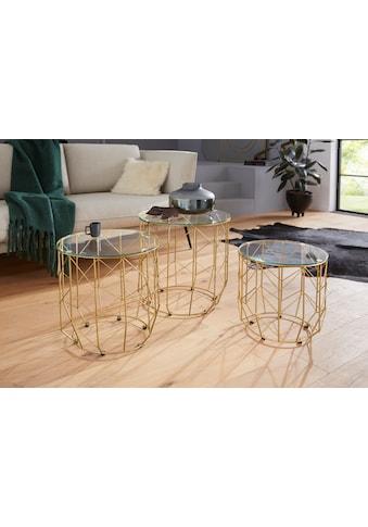 Leonique Beistelltisch »Eleonor«, (3er-Set), mit einer Glastischplatte und einem edlen goldfarbenem Metallgestell kaufen