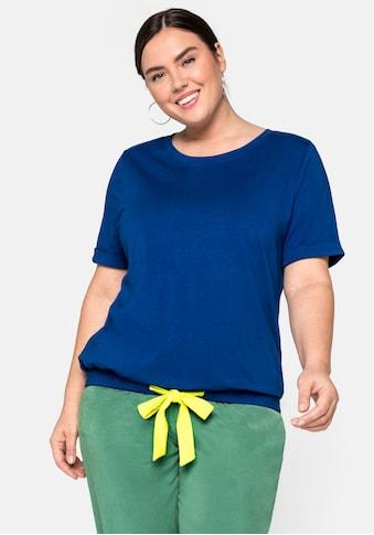 Sheego Rundhalsshirt, mit kontrastfarbenem Bindeband kaufen