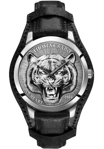 THOMAS SABO Quarzuhr »Rebel Tiger 3D schwarz-silberfarben, WA0367-203-201-42 mm«,... kaufen
