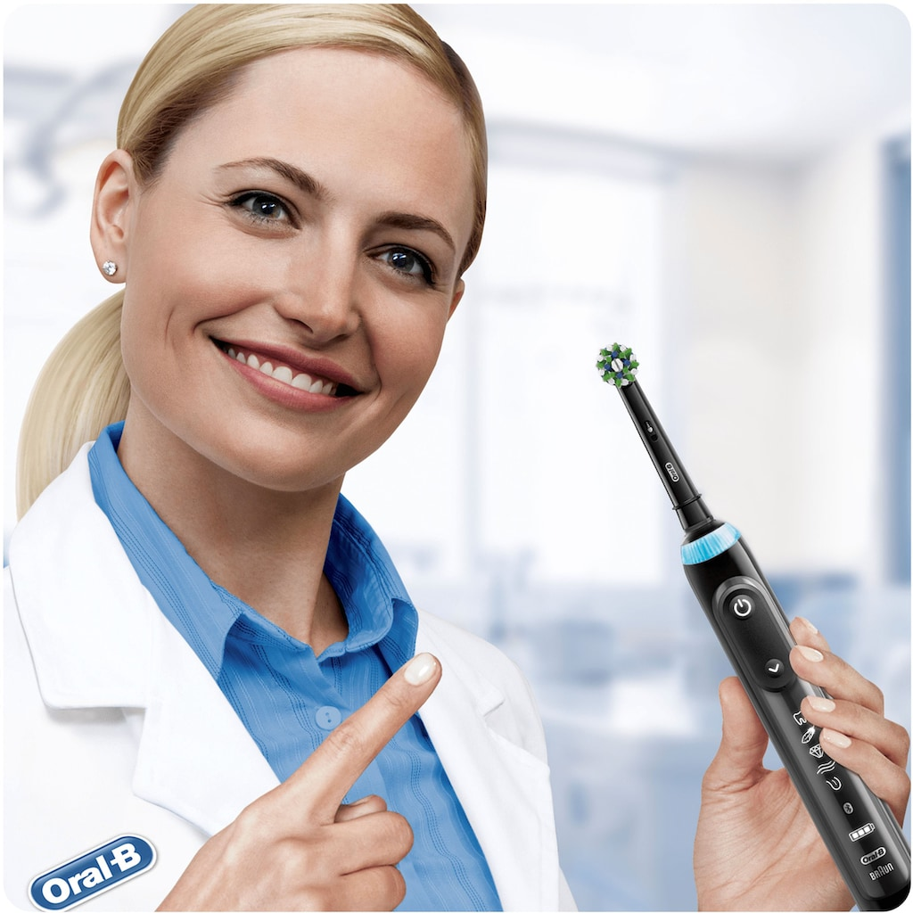 Oral B Aufsteckbürsten »Cross Action BLACK CleanMaximizer«, CleanMaximiser-Technologie