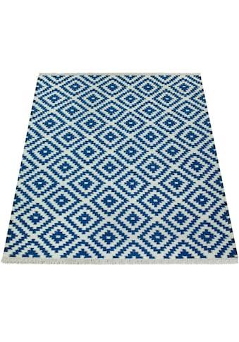 Paco Home Teppich »Kenitra 500«, rechteckig, 13 mm Höhe, handgefertigt, mit Fransen, Rauten Design, Wohnzimmer kaufen