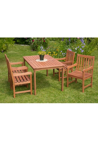 MERXX Gartenmöbelset »Santos«, 5tlg., 4 Sessel, Tisch, Eukalyptusholz, natur kaufen