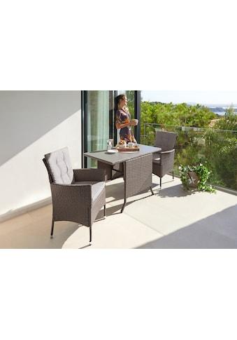 KONIFERA Gartenmöbelset »Mailand«, (7 St.), 2 Sessel, Tisch 112x65 cm, Polyrattan kaufen
