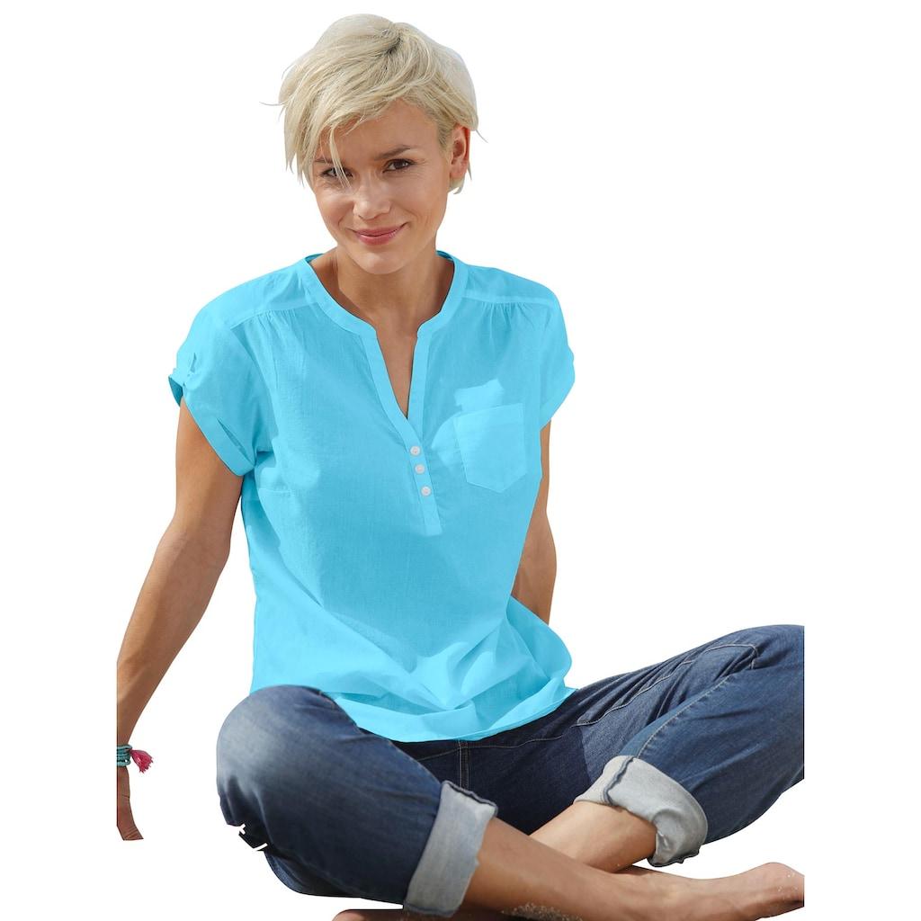 Casual Looks Bluse mit fixierten Umschlägen an den Ärmeln