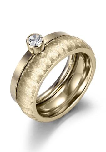 Firetti Ring - Set »2,0 mm, 4,0 mm, glanzvoll, matt, gekratzt, strukturiert, gelbgoldfarben IP - beschichtet« (Set, 2 tlg.) kaufen