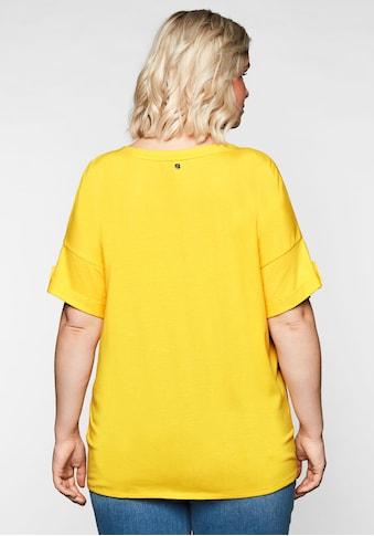 Sheego T-Shirt, mit Ziernaht und Knotendetail am Saum kaufen