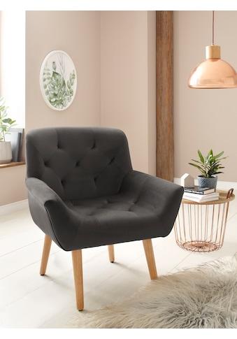 Home affaire Sessel »Sami«, aus schönem weichen Velvet Bezug und Knopfsteppung auf der... kaufen