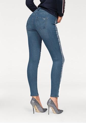 Arizona Skinny - fit - Jeans »Seitennaht mit silberfarbenem Print« kaufen
