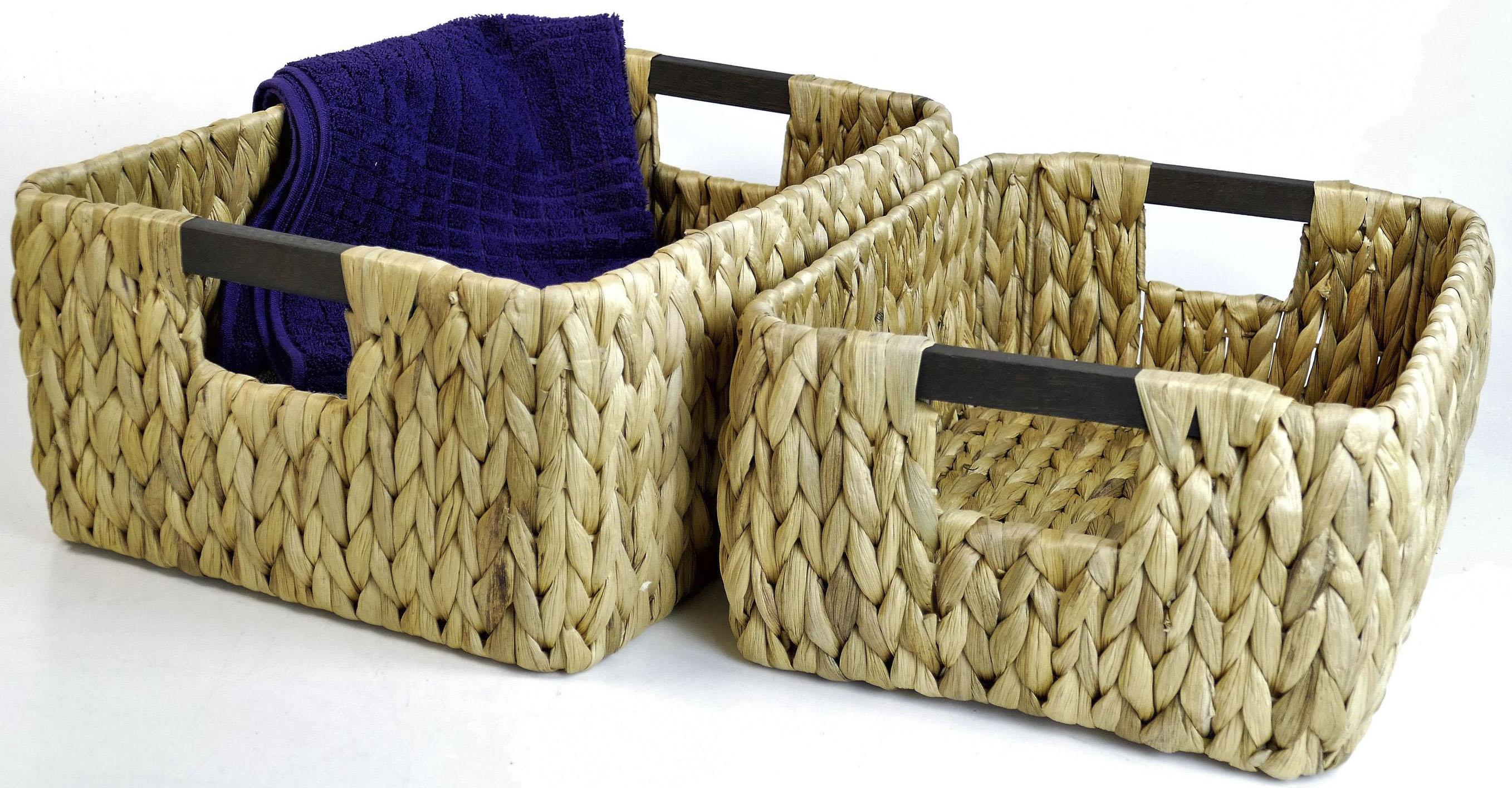 Image of ARTRA Aufbewahrungskorb »Aufbewahrungskorb FABI 2er Set L+M aus Wasserhyazinthe mit Holzgriff Natur«
