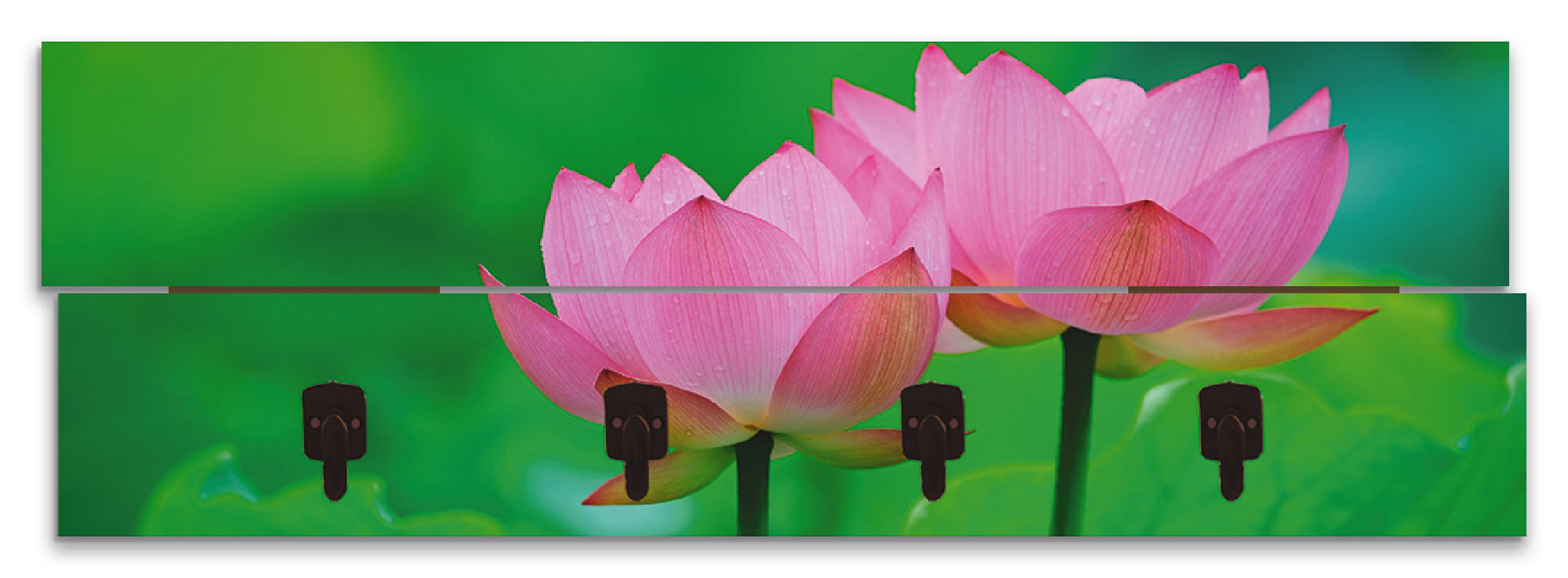 Image of Artland Garderobenpaneel »Blühende Lotusblume«, platzsparende Wandgarderobe aus Holz mit 4 Haken, geeignet für kleinen, schmalen Flur, Flurgarderobe