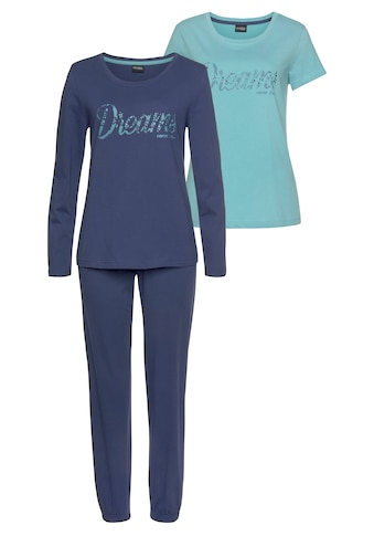 Vivance Dreams Pyjama, (Set, 3 tlg.), mit Frontschriftzug kaufen
