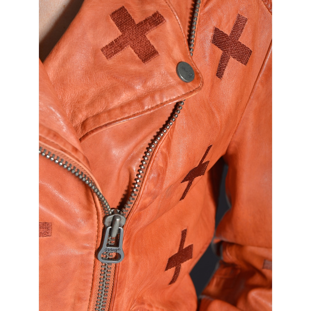 Maze Lederjacke mit gestickten Symbolen »Movas«