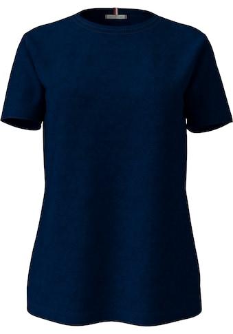 TOMMY HILFIGER Rundhalsshirt »TH COOL ESS RELAXED C-NK TEE SS«, im allover Streifendessin oder unifarben & TommyHilfiger Logo-Flag kaufen