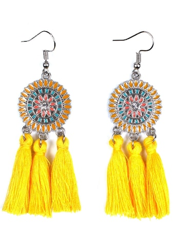 J.Jayz Paar Ohrhaken »rundes Design mit Ornamenten und Quasten« kaufen