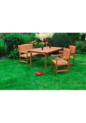 MERXX Gartenmöbelset »Lima«, 4 - tlg., 2 Sessel, Bank, Tisch 150 x 90cm, Eukalyptus, braun kaufen