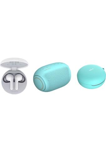 LG In-Ear-Kopfhörer »FN4  Macaron Jellybean Hardbundle«, Bluetooth, Sprachsteuerung-Noise-Reduction-LED Ladestandsanzeige-True Wireless, + Bluetooth-Speaker (UVP 69,99) + Macaron Case (UVP 9,99) kaufen