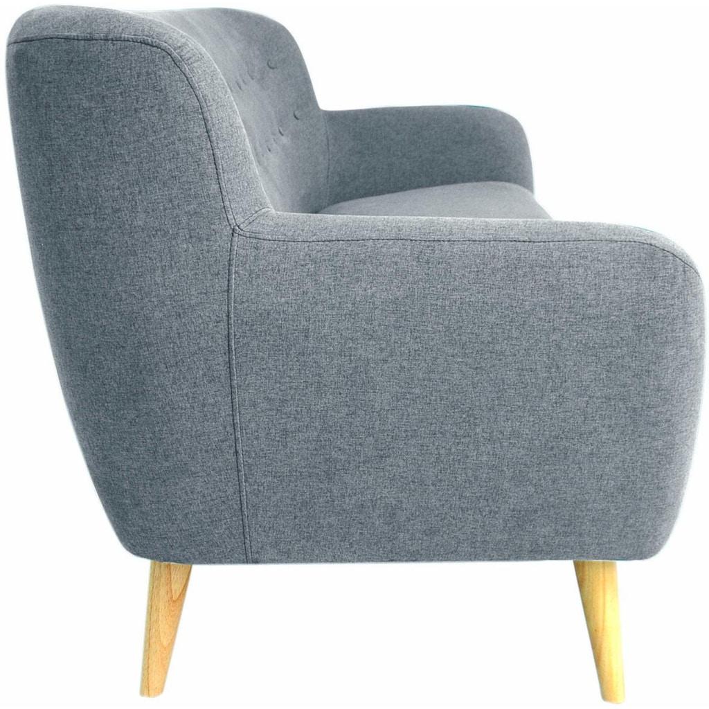 Home affaire 3-Sitzer »Noris«, mit Zierknopfheftung im Rücken, skandinavischer Stil, Holzfüsse