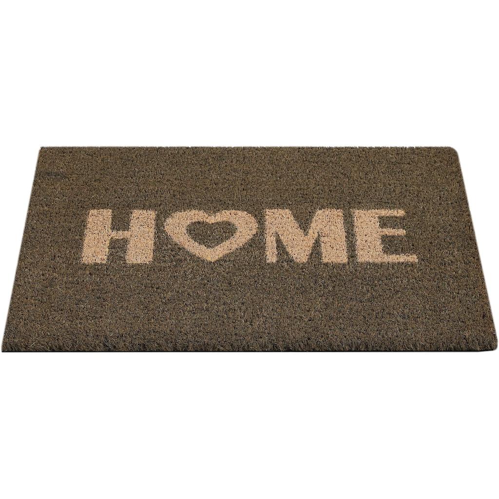 Andiamo Fussmatte »Kokos Home Heart«, rechteckig, 15 mm Höhe, Schmutzfangmatte, Kokosmatte, mit Spruch, In- und Outdoor geeignet