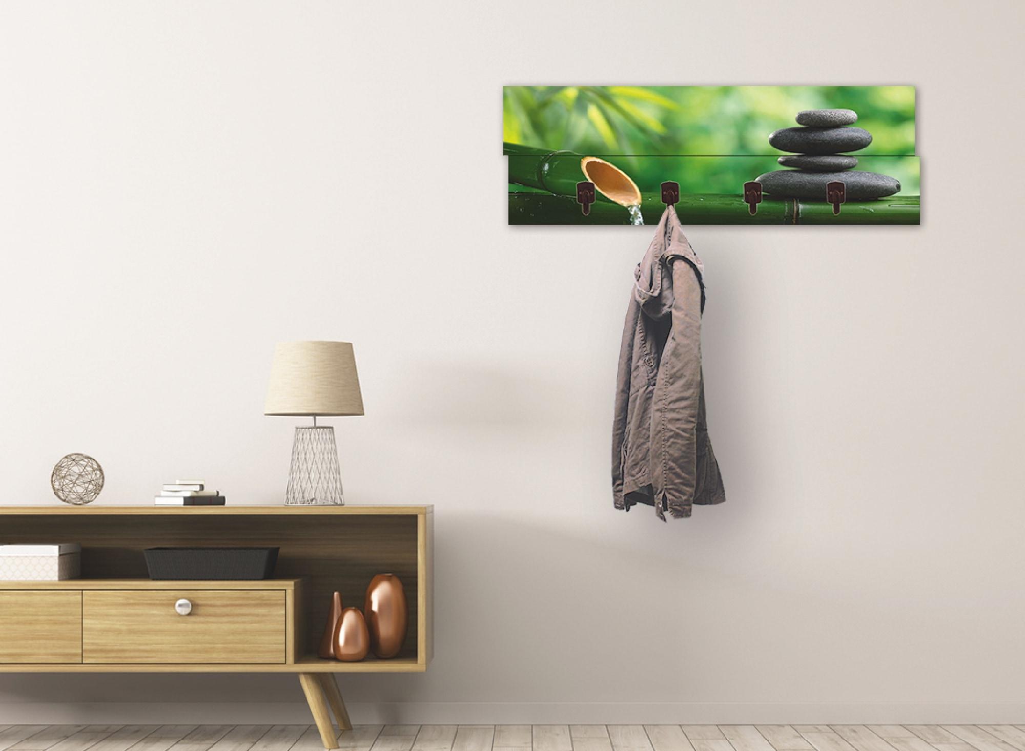 Image of Artland Garderobenpaneel »Bambusbrunnen und Zen-Stein«, Garderobe mit 4 Haken