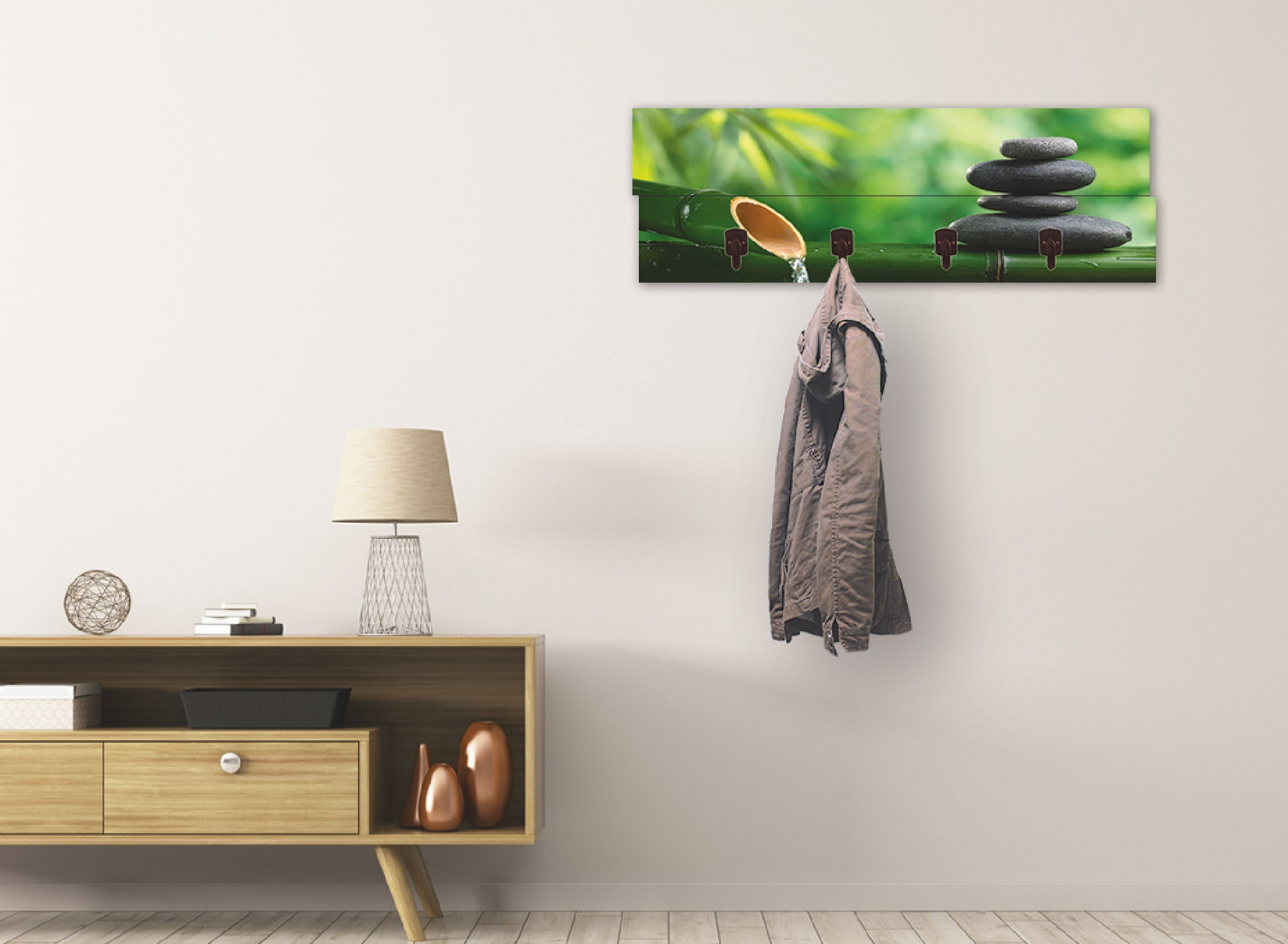 Image of Artland Garderobenpaneel »Bambusbrunnen und Zen-Stein«, platzsparende Wandgarderobe aus Holz mit 4 Haken, geeignet für kleinen, schmalen Flur, Flurgarderobe
