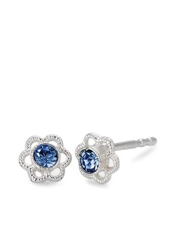 Ohrstecker Silberfarben Blume, Glasstein blau 5 x 5 mm kaufen