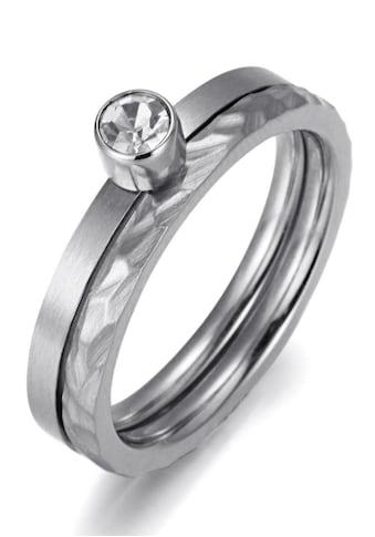 Firetti Ring-Set »zus. 4,0 mm, matt- und glanzoptik, strukturiert, stilvoll«, (Set, 2 tlg.), mit Zirkonia kaufen