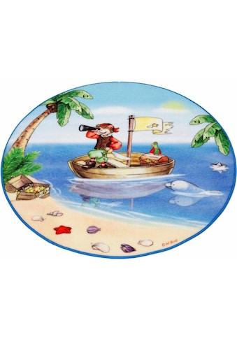Böing Carpet Kinderteppich »Lovely Kids LK-1«, rund, 2 mm Höhe, Motiv Pirat, Kinderzimmer kaufen