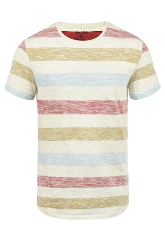 Blend Rundhalsshirt »Efkin«, Kurzarmshirt mit Inside-Out Print in Streifenoptik kaufen