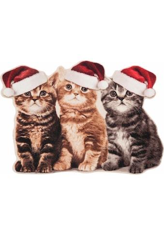 HANSE Home Fussmatte »Weihnachtskatzen«, rechteckig, 7 mm Höhe, Schmutzfangmatte, In-... kaufen