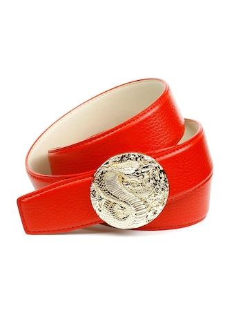 """Anthoni Crown Ledergürtel, in rot mit Schliesse """"Kobra"""" kaufen"""