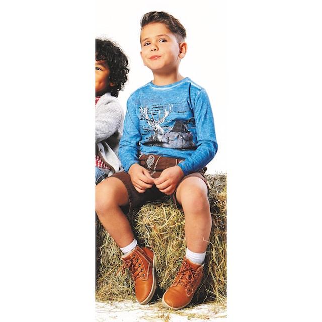 BONDI Trachtenshirt Kinder in Flammgarnoptik