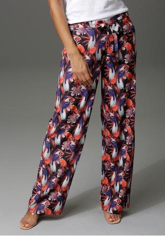 Aniston CASUAL Palazzohose, mit Paradiesvögeln, Blättern und Blüten bedruckt - NEUE KOLLEKTION kaufen