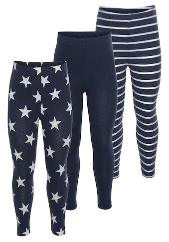 KIDSWORLD Leggings, (Packung, 3 tlg.), in Uni, mit Ringel oder Sternen kaufen
