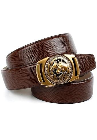 Anthoni Crown Ledergürtel, mit messingfarbener Pferde Metallschnalle kaufen