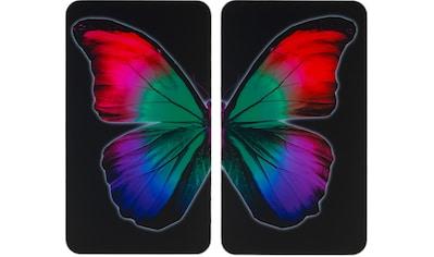 """WENKO Herd - Abdeckplatte """"Universal Butterfly by Night"""", Glas Kunststoff, (Set, 2 - tlg.) kaufen"""