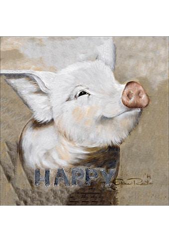 queence Leinwandbild »Happy Pig«, Schwein, (1 St.) kaufen
