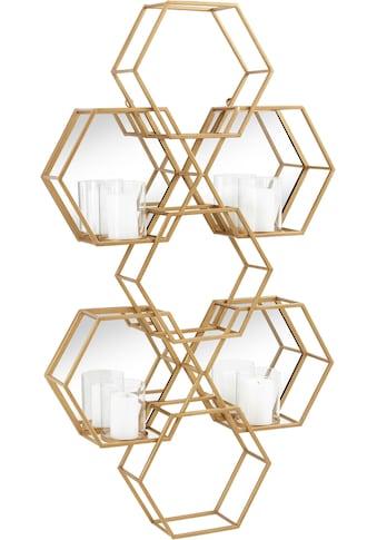 Leonique Wandkerzenhalter »Hexagon, goldfarben«, Wanddeko, aus Metall, bestehend aus... kaufen