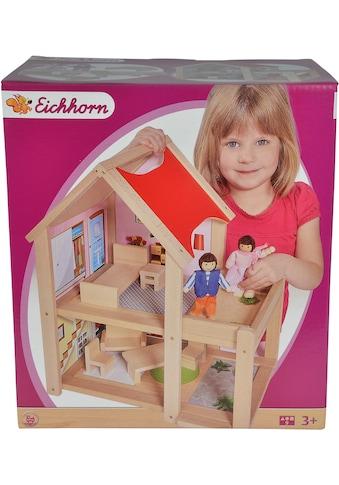 Eichhorn Puppenhaus, mit Einrichtung und Spielfiguren; Made in Europe kaufen