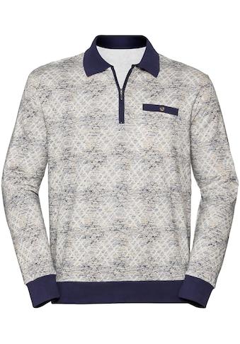 Marco Donati Langarm - Poloshirt im markanten Allover - Druck kaufen