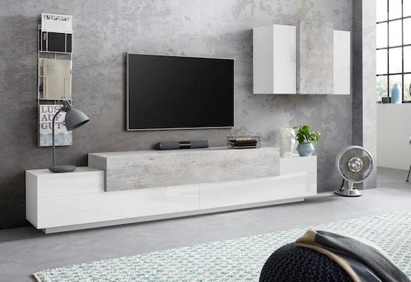 moderne Wohnwand mit Wandboard
