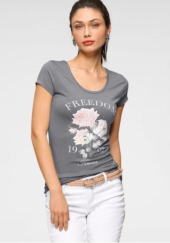 Melrose Kurzarmshirt, mit floralem Druck und Glitzersteinen - NEUE KOLLEKTION kaufen