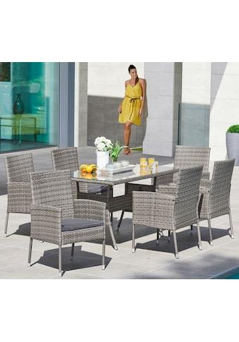 Gartenmöbelset »Costa Rica«, 13 - tlg., 6 Sessel, Tisch 140x80 cm, Polyrattan, grau kaufen