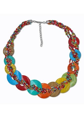 J.Jayz Collier »runde Plättchen, bunte Farbgestaltung«, mit Glassteinen kaufen