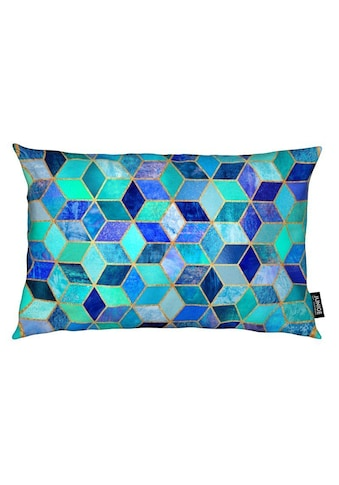 Juniqe Dekokissen »Blue Cubes«, Weiches, allergikerfreundliches Material kaufen